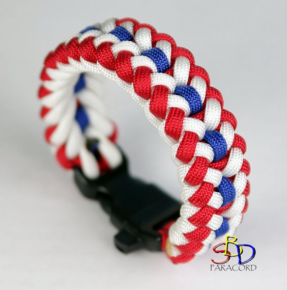USA Paracord Bracelet , Sanctified Braid Design , Red, White, and Blue! (