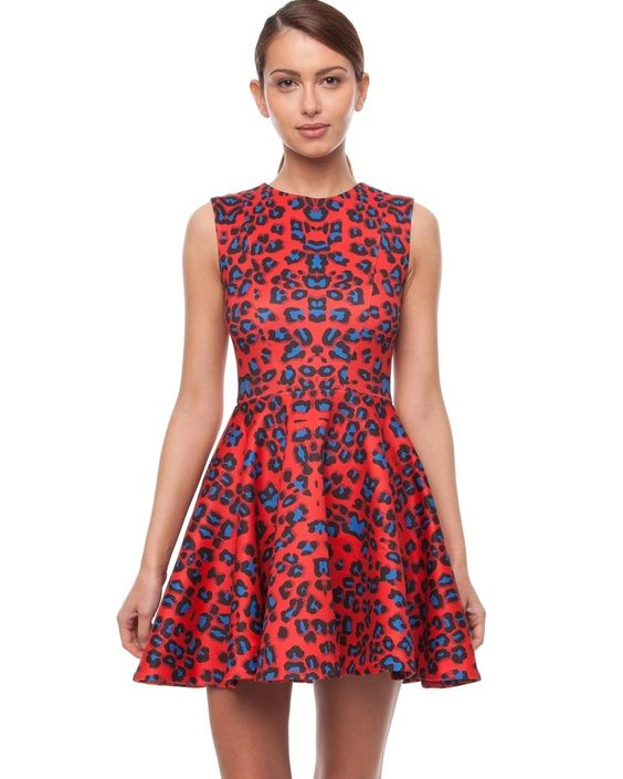 NICHOLAS - Red Leopard Skater Dress- $249.00 by The Label ...