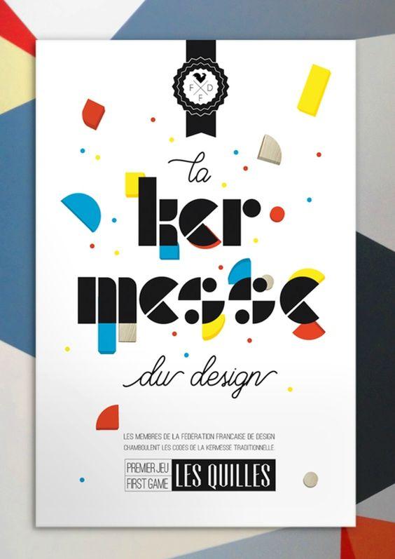 """Affiche """"la kermesse du design"""" pour la Fédération Française de Design. gaellesouppart2.canalblog.com"""