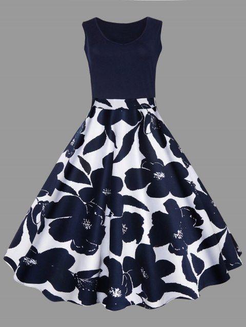 Plus Size Vintage Dress Rockabilly Plus Size Floral Printed Midi Vintage Flare Dress Tea Length Vintage Flare Dress Midi Flare Dress Plus Size Vintage Dresses