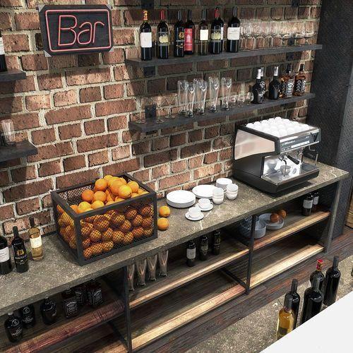 Bar Counter 3d Model Max Obj Mtl 3ds Fbx Mat 4 Smallhomebardecorations Bar Counter Design Coffee Shop Bar Bar Counter