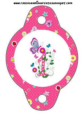 1 Ano Menina - Kit Completo com molduras para convites, rótulos para guloseimas, lembrancinhas e imagens!