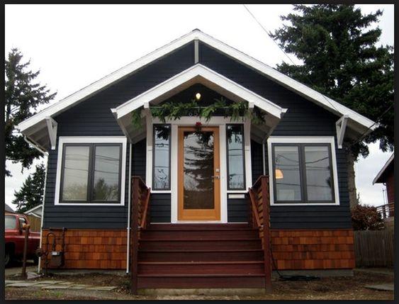 Best Dark Navy Siding And Wood Cedar Shingles Exterior Plans 400 x 300