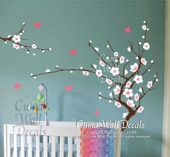 White cherry blossom wall decals flower butterfly wall for Cherry tree mural