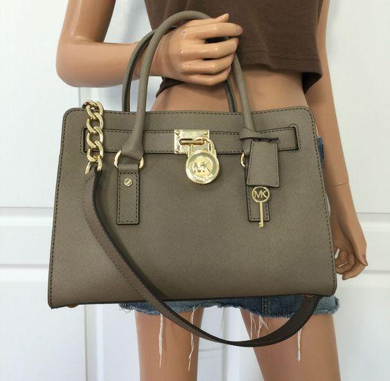 Michael Kors Hamilton Dark Dune Saffiano Leather Satchel Shoulder Bag Purse   eBay