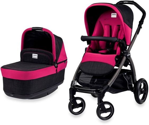 Hot Pink and Black stroller with bassinet - Peg Perego Book Pop-Up ...