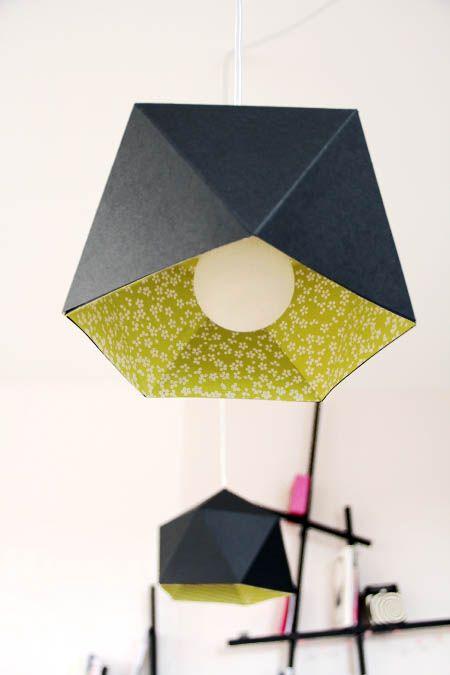 Une double suspension en papier faite maison - Tête d'ange  voir sur le site: lampe de bureau