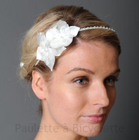 headband mariage paulette serre t te et fleurs de satin mousseline et soie orn de cristaux. Black Bedroom Furniture Sets. Home Design Ideas