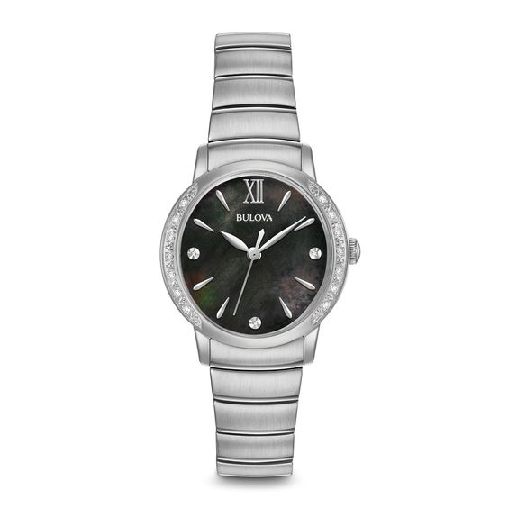 Refurbished Bulova Women's 99R213 Silver Tone and Diamond Watch with a Mother of Pearl Dial
