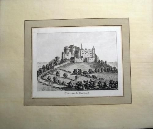 1776 Rosenberg Aquatint Chateau DORNACH Dorneck Solothurn SWITZERLAND wash…