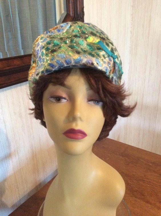 Vintage 1950's-60's Richard Original Peacock Design Metallic Brocade Pillbox Style Hat -  Free First Class Shipping to US by LeMillesimeBrocante on Etsy