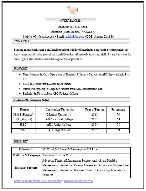 MBA Best Resume (Page 1) Career Pinterest Marketing resume - professional fresher resume