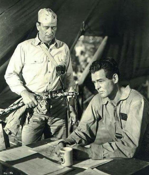 JOHN WAYNE & ROBERT RYAN  In FLYING LEATHERNECKS ('51)