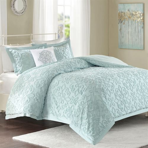 Lily Pale Aqua Cotton Chenille 4 Pc Comforter Bed Set With Images