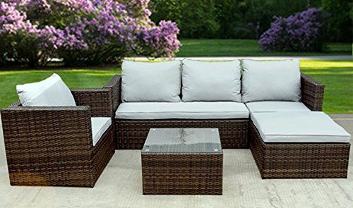 Bigzzia Rattan Effect 5 Seater Garden Corner Sofa with Cushions