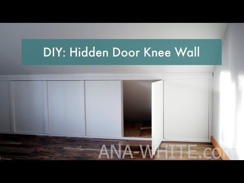 Tutorial For Building A Sloped Ceiling Knee Wall With Hidden Access Doors Step By Step Photos By Ana White Com Knee Wall Hidden Doors In Walls Hidden Door