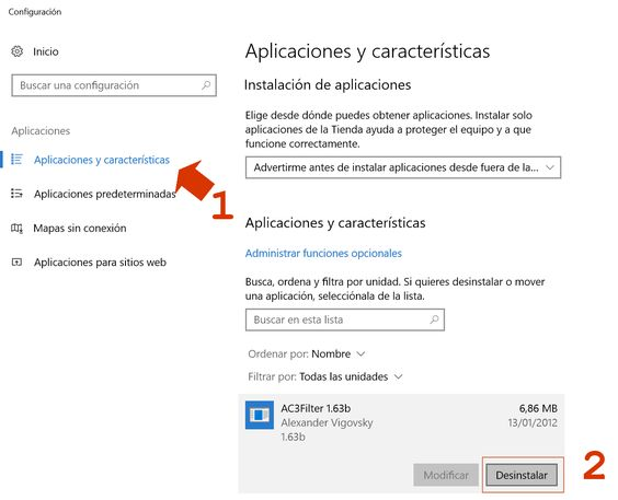 Quitar aplicaciones de Windows
