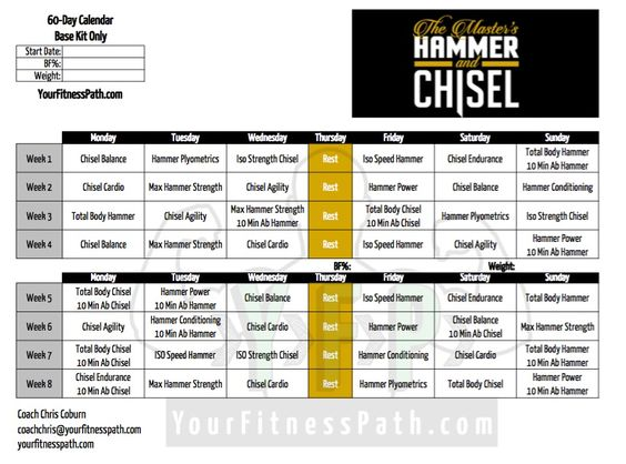 Need a #Printable 1 Page #HammerandChisel Worksheet for - beast workout sheet