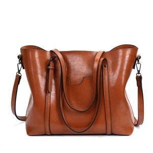 Women Real Leather Handbag Large Multi Pocket Cabin Bag Shoulder Bag Purse TAN