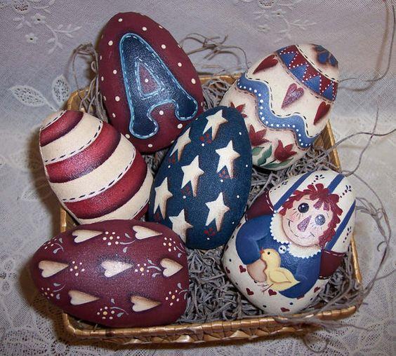 Primitive  Raggedy Ann Easter Egg Ornies Handpainted Bowl Fillers  Americana Easter Decor. $19.95, via Etsy.