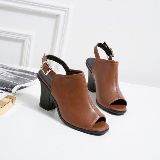 Rzymski Proste Simple Brazowy Zuzycie Ulicy Buty Damskie 2020 8 Cm Grubym Obcasie Peep Toe Sandaly Thick Heels Peep Toe Sandals Women Shoes