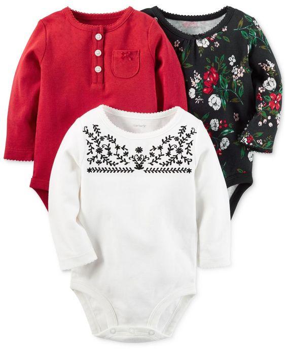 Carter's 3-Pk. Long-Sleeve Bodysuits, Baby Girls (0-24 months)