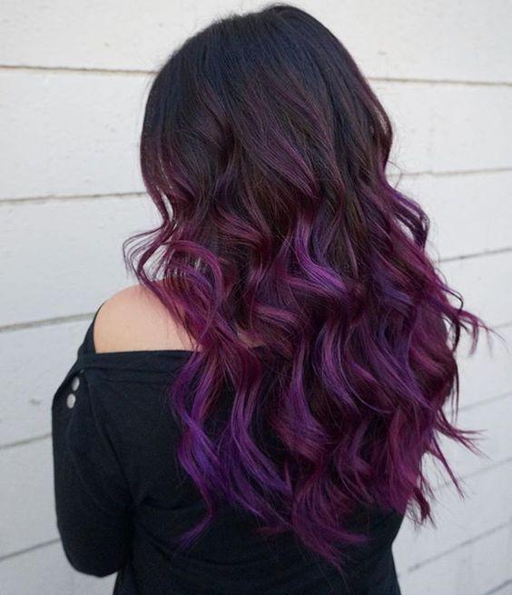 Ombre hair braun lila