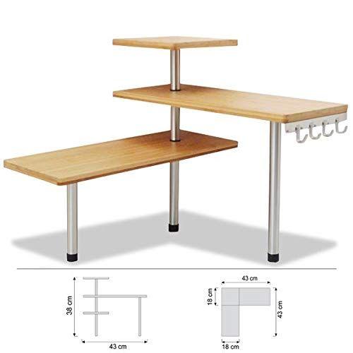 Salle de bain ou sur un bureau Id/éal pour gagner de la place Etag/ère dangle en bambou et inox Cuisine