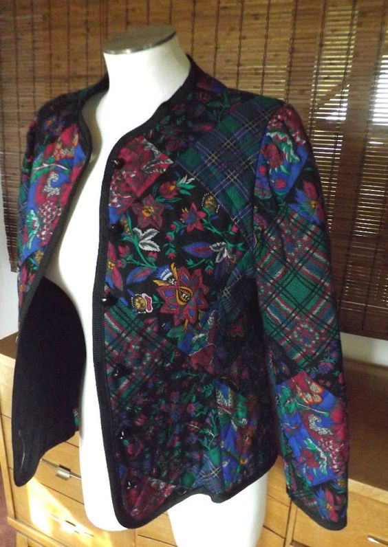 Vintage 80s Floral Patchwork Print Quilted Jacket By