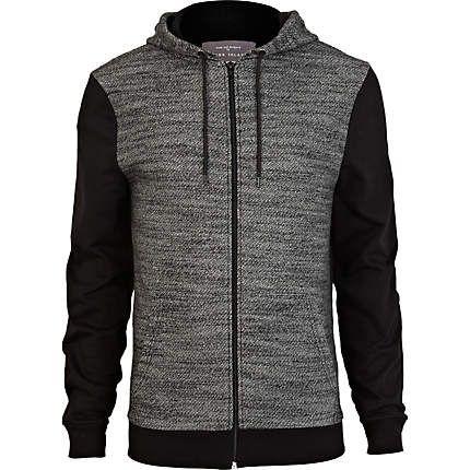 Black marl contrast sleeve hoodie - hoodies - hoodies ...