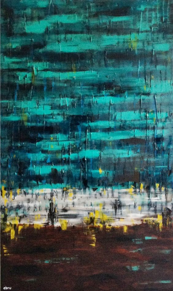 """Ercan's """"The Safe Haven,"""" 36"""" x 60"""", acrylic and resin on canvas."""