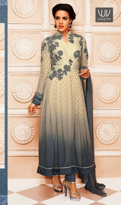 Attractive Cream And Grey Georgette Anarkali Salwar Suit Attractive cream and grey georgette anarkali salwar suit designed with embroidery, resham, zari, lace and patch border work.