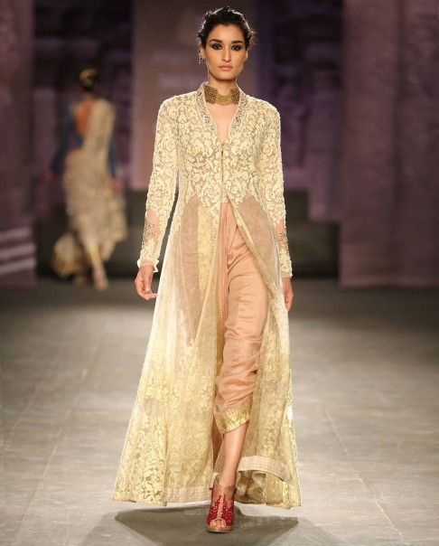 Ivory Embroidered Jacket and Dhoti Set - Anju Modi - Designers