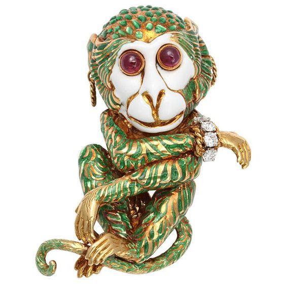 David Webb monkey with its own david webb bracelet