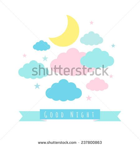 Moon, clouds and stars. Childish background with banner for text. Good night