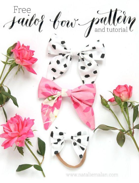 DIY Sailor Bow tutorial and free pattern style girls hair bow dalmation bow hair bow tutorial template free download   at nataliemalan.com