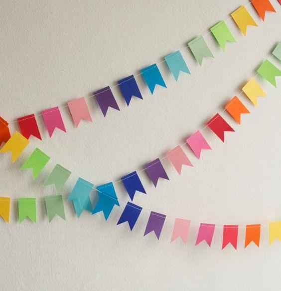 Paper Garland - Rainbow Flags, Birthday Garland, Birthday Bunting, Paper Bunting