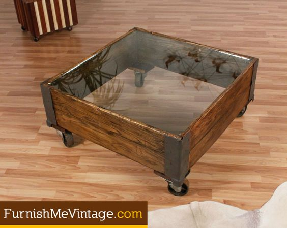 Vintage Industrial Cart Coffee Table With Glass Top Vintage Industrial Furniture Pinterest