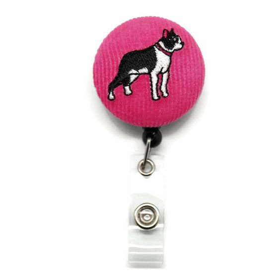 Embroidered Lilly Boston Terrier Dog Fabric ID Badge Reel