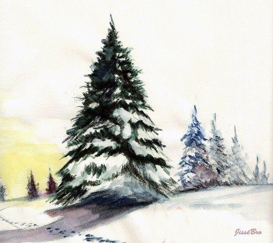 Comment Peindre Un Sapin A L Aquarelle Paysage De Noel Dessin