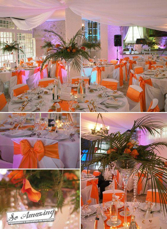 Chateau de Périgny Poitiers - Décoration de mariage orange et exotique, tropicale, feuille de palmier, antilles, afrique - Location vase martini, housses de chaise blanches - Décoratrice de mariage