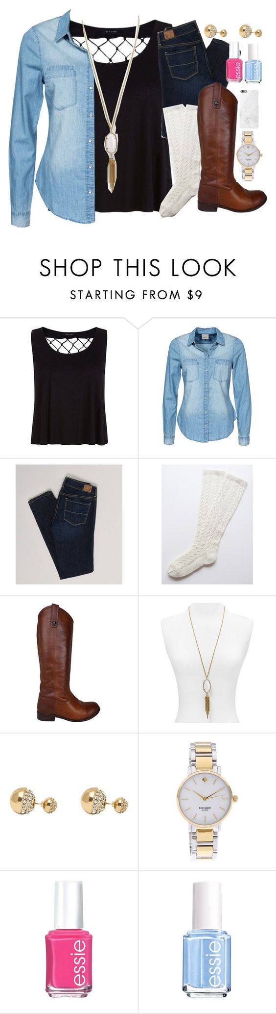 """""""The always perfect Minda"""" by classically-kendall ❤ liked on Polyvore featuring Vero Moda, American Eagle Outfitters, Frye, Kendra Scott, Adele Marie, Kate Spade, Essie and Native Union"""