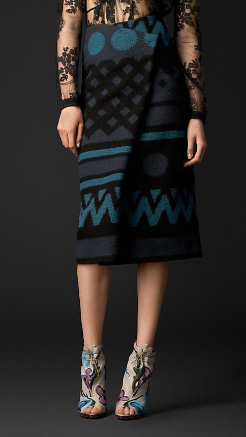 Jacquard Blanket Pleat Front Skirt | Burberry
