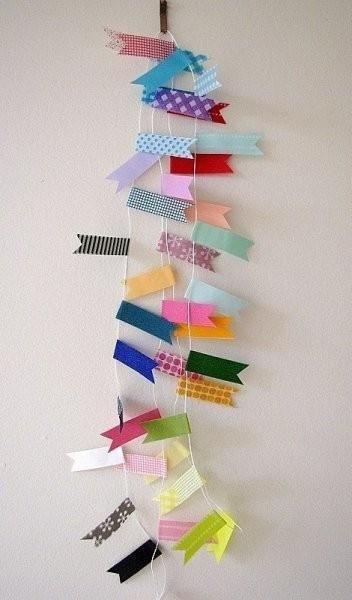 Banderines decorativos de washi tape.