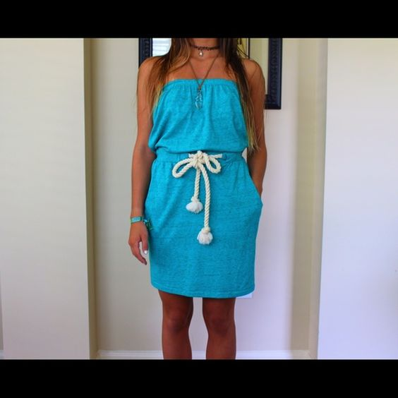 Aqua strapless dress with tie in front Aqua strapless dress with rope tie in front Alternative Earth Dresses Strapless