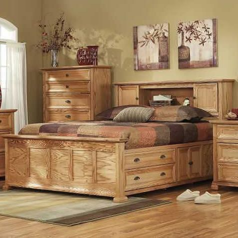 Ventura library headboard queen captain 39 s bed with underbed storage by thornwood Queen bedroom sets with underbed storage