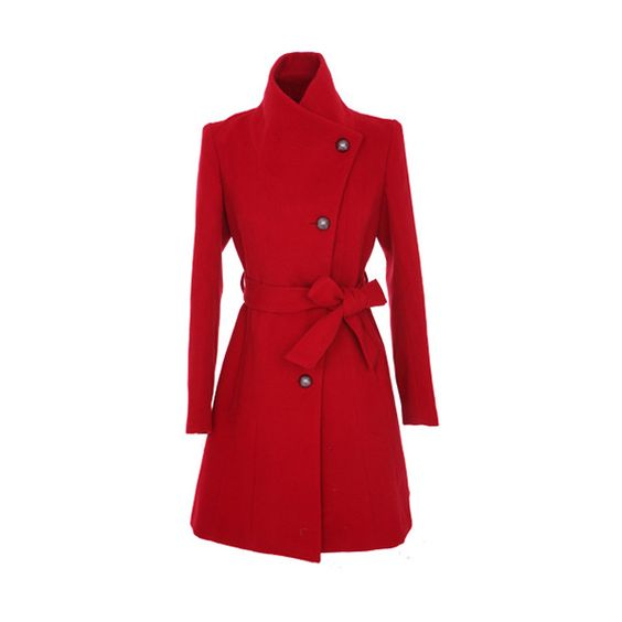 Large Lapel Single Breasted Red Coat ($219) ❤ liked on Polyvore