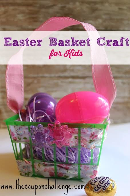 Easy Easter Basket Craft for Kids.  This is a super simple craft that kids can make to hold all their Easter goodies or to make for friends.