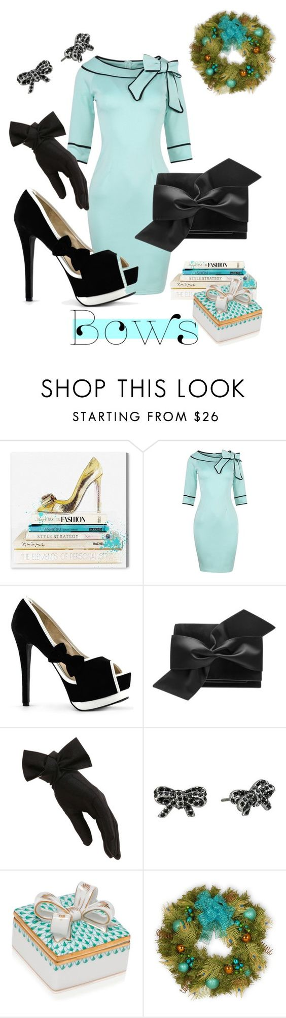 """""""Bows at the Holiday Party🎀"""" by mdfletch ❤ liked on Polyvore featuring Oliver Gal Artist Co., Victoria Beckham, Black, Marc Jacobs, Herend, National Tree Company and bows"""
