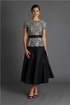 A-Line/Princess Bateau Tea-length Lace Taffeta Mother of the Bride Dress
